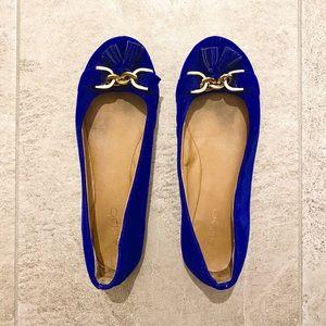 🥿 Blue & Gold Ballerina Flats with Tassels